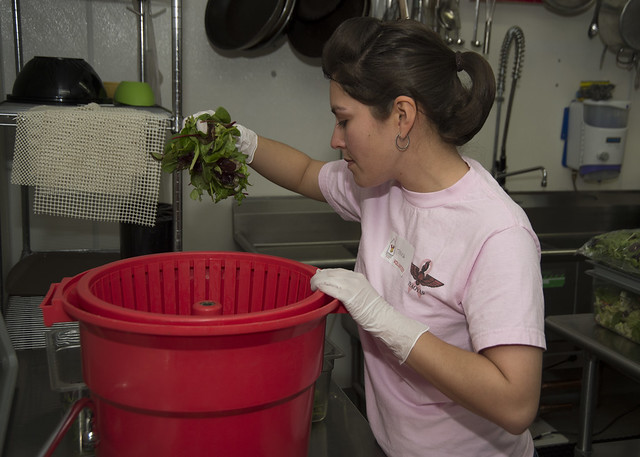 SAN DIEGO (Jan. 17, 2016) – USS Makin Island (LHD 8) Sailor Aviation Ordnanceman Airman Teresa Lopez, from Grand Prairie, Texas, prepares a salad during a community relations event at the Ronald McDonald House in San Diego. Makin Island is home-ported in San Diego.