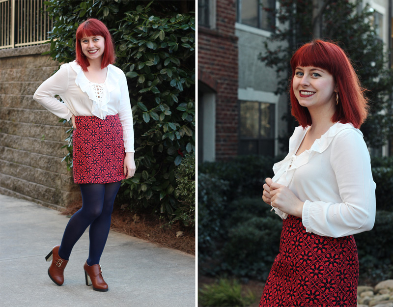 Red and Navy Blue Mini Skirt, White Lace Up 70s Inspired Blouse, and Brown Ankle Boots