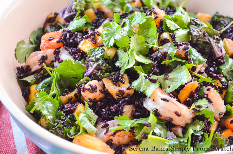 Healthy Asian Shrimp and Black Rice Salad is delicious served warm or cold and has only 446 calories per serving! serenabakessimplyfromscratch.com