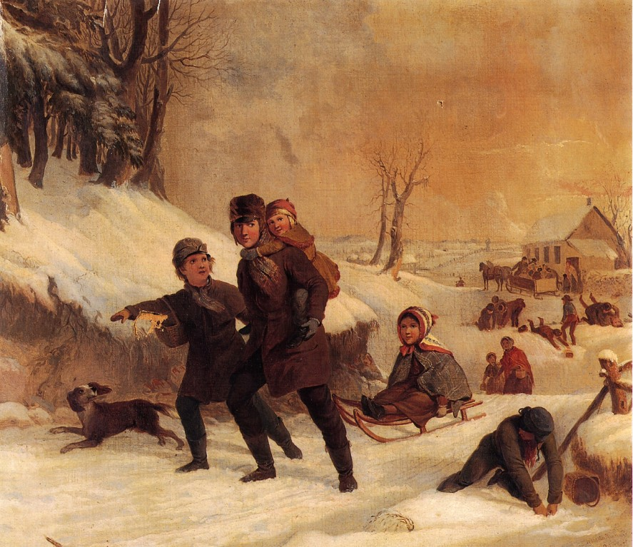 Playing in the Snow by Thompkins H Matteson, 1856