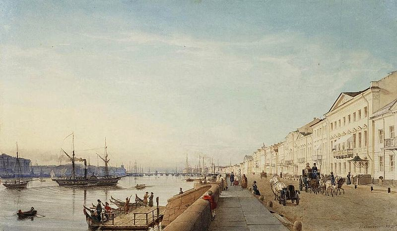 English Embankment in Saint Petersburg by Eduard Gaertner, 1835
