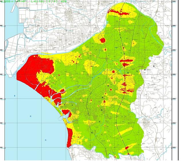 土壤液化潛勢圖_台南全區 資料來源:中央地調所