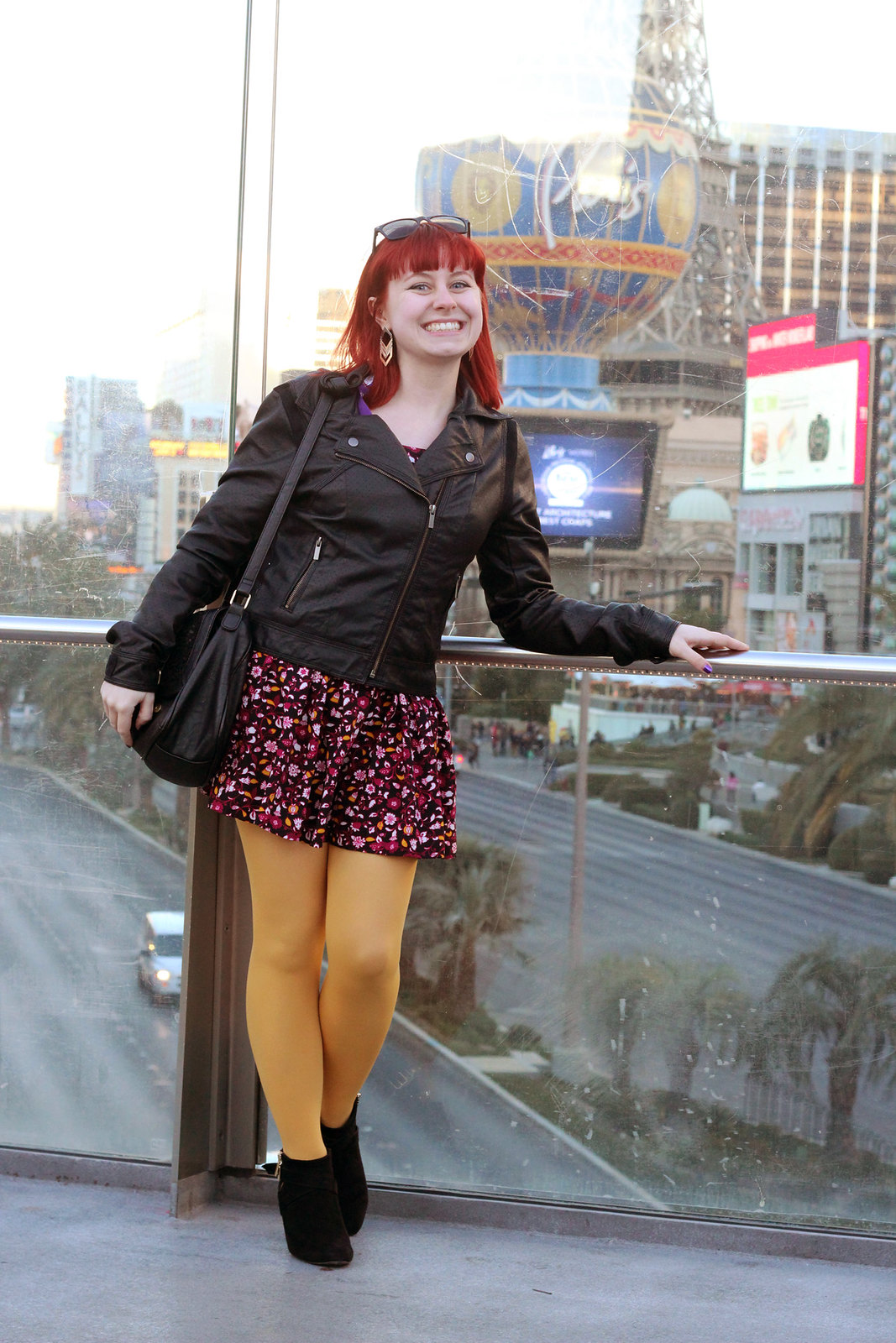 Faux Leather Jacket, Purple Floral Dress, Yellow Tights, and Black Wedge Boots