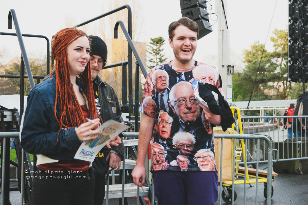 guy with bernie shirt at bernie sanders rally seattle