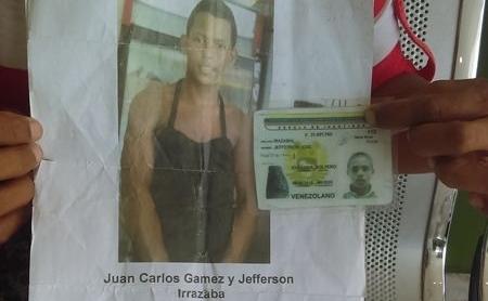 Jefferson José Irazabal y Juan Carlos Gamez, ambos de 15 años de edad, llevan casi 10 días desaparecidos