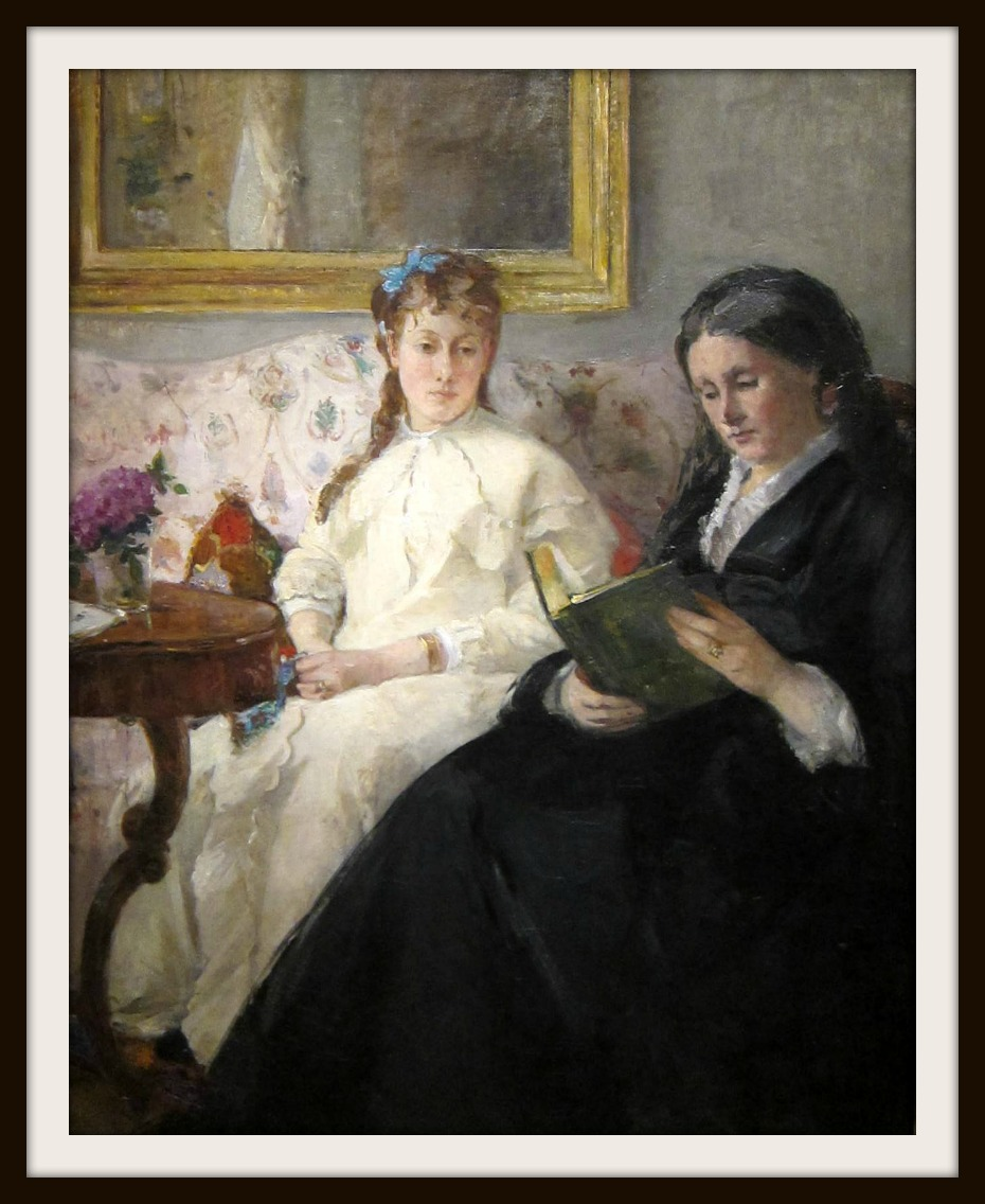 Portrait de Mme Morisot et de sa fille Mme Pontillon ou La lecture (The Mother and Sister of the Artist - Marie-Joséphine & Edma) by Berthe Morisot, 1870.