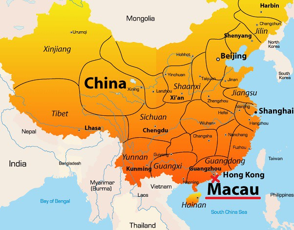Mapa de China destacando a Macao