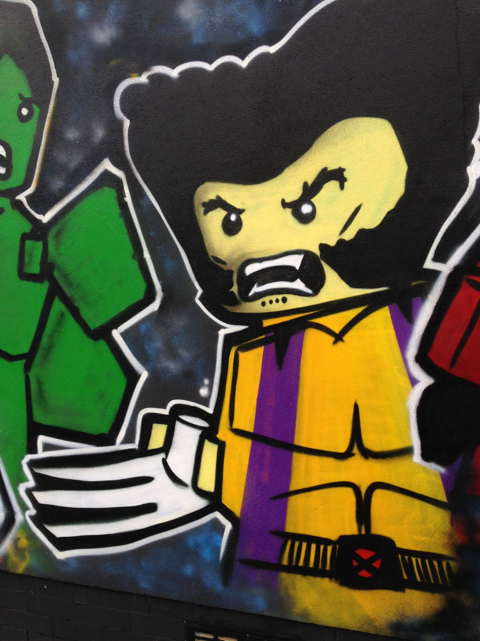 Marvel Lego Wolverine street art, Blackpool, by Dominic Carlyle