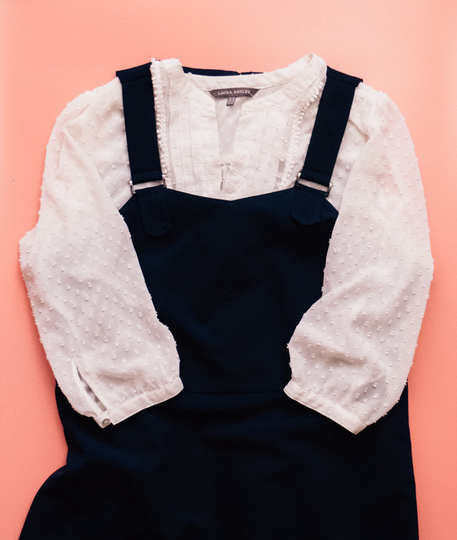 navy pinafore dress from dorothy perkins and laura ashley blouse