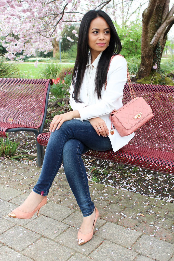White and pink spring look