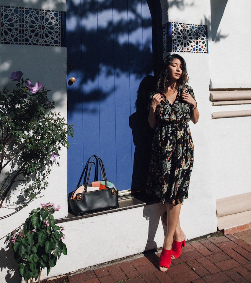 Stephanie Liu of Honey & Silk wearing Reformation Dress, Coach 1941 Outlaw Satchel, and Charlotte Stone Mules