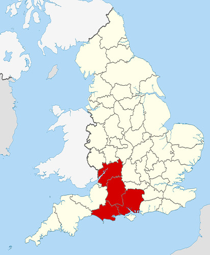 The counties of Hampshire, Wiltshire, Dorset, and Gloucestershire
