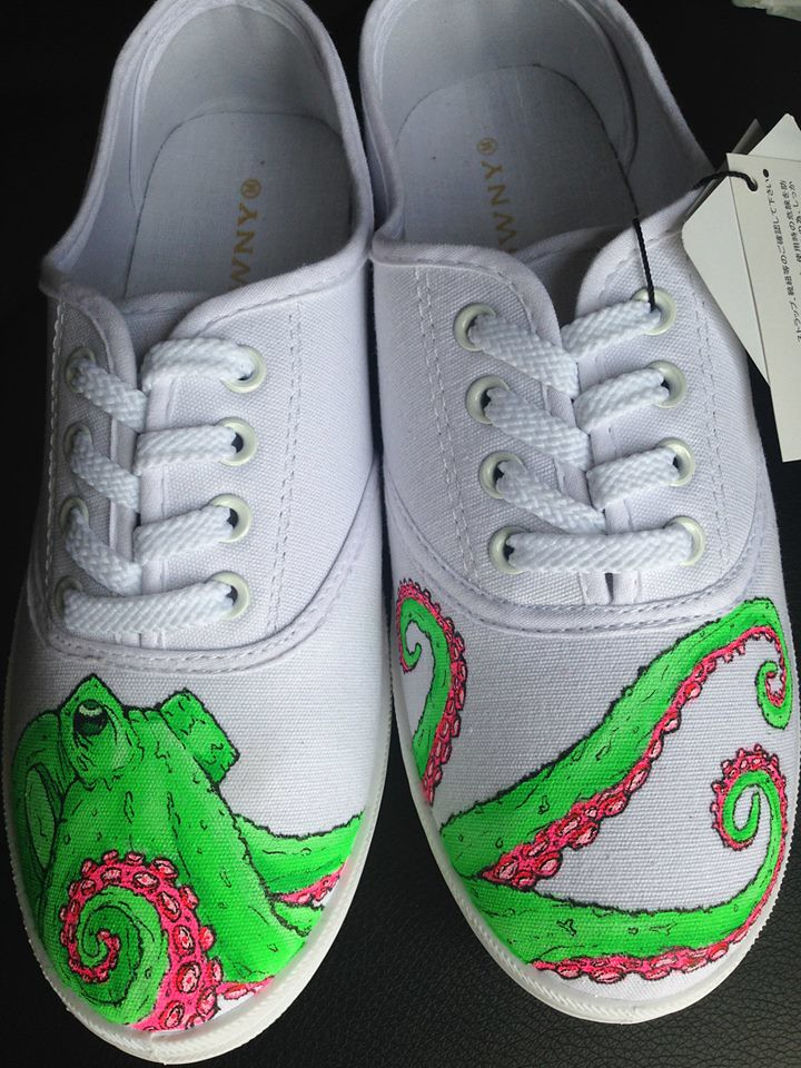 Custom shoe art by Danny P - Octopus