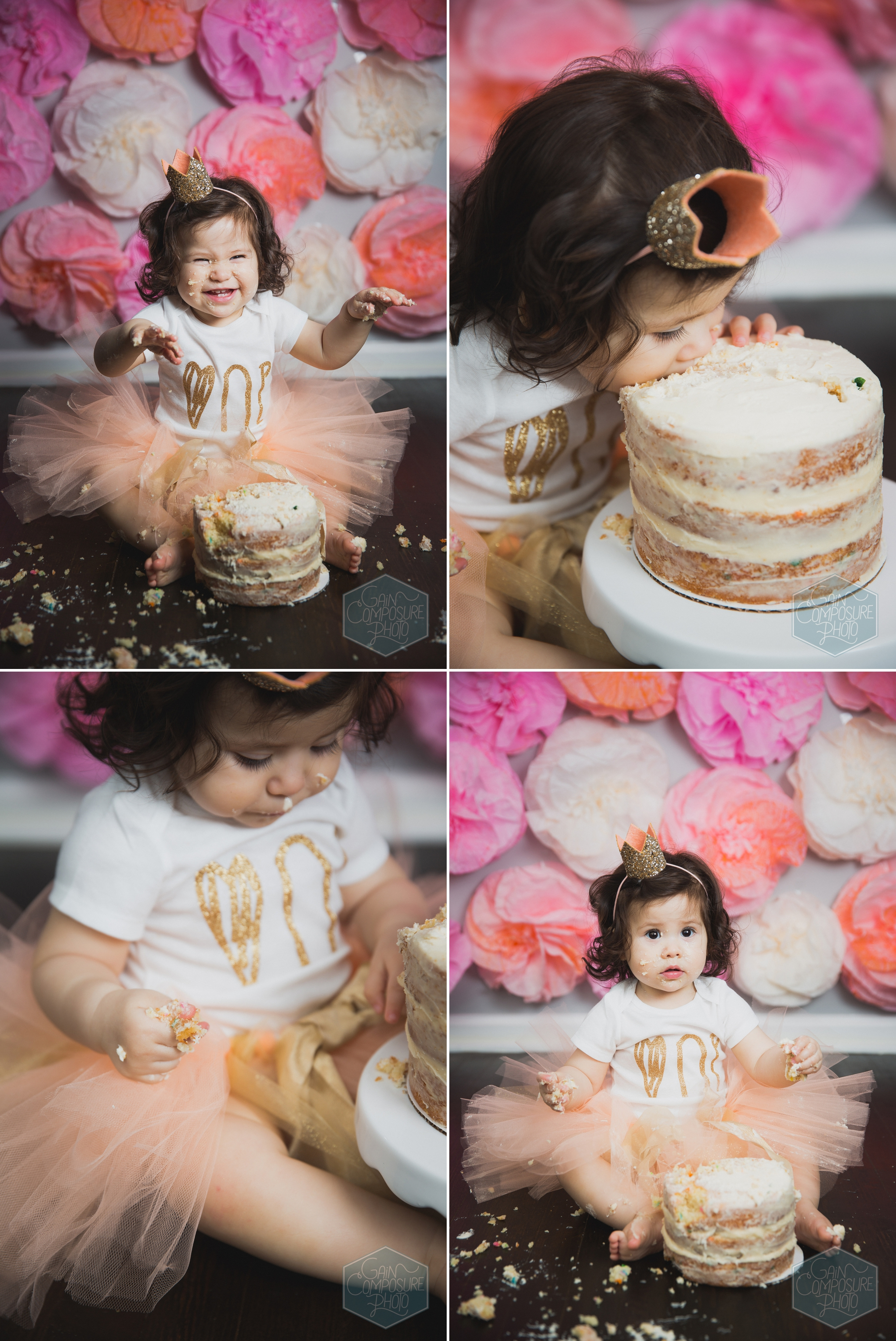 little girl wearing miniature crown during first birthday session in guilford county north carolina