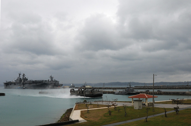 Okinawa, JAPAN - Landing Craft Air Cushion (LCAC) 8 assigned to Naval Beach Unit (NBU) 7 approaches the boat ramp at White Beach Naval Facility after delivering equipment to the amphibious assault ship USS Bonhomme Richard (LHD 6).