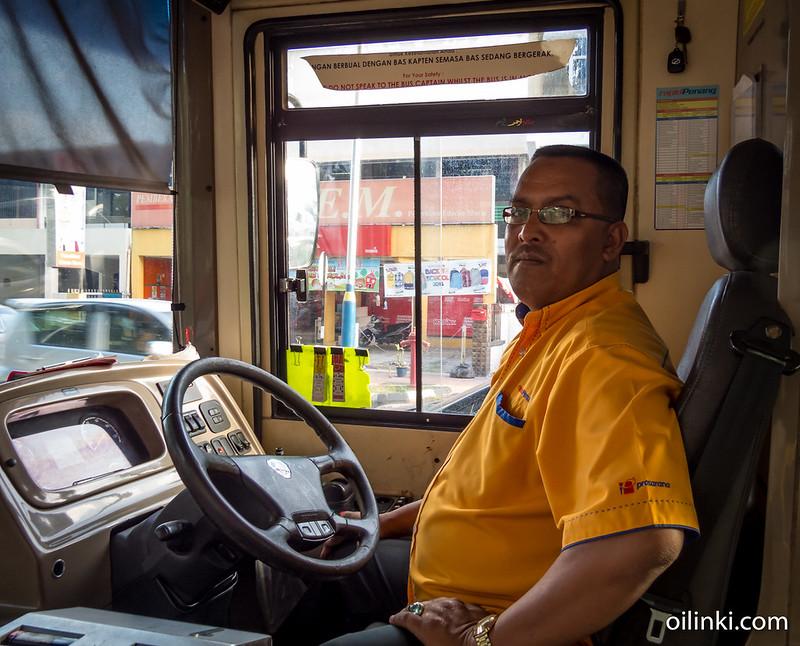 Friendly bus driver at Penang, Malaysia