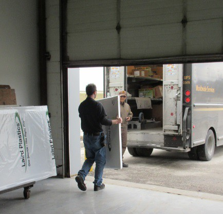 the garage door opens and product leaves the building, monitored