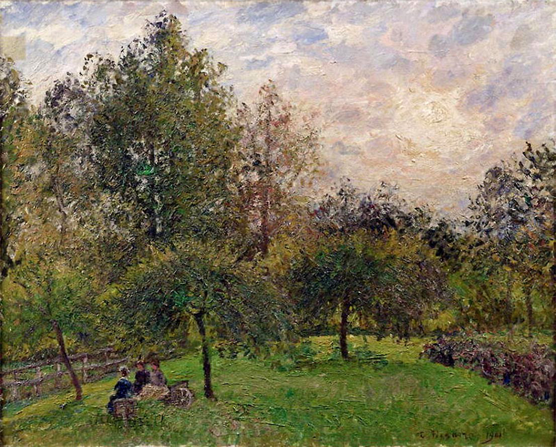 Apple Trees and Poplars in the Setting Sun by Camille Pissarro, 1901