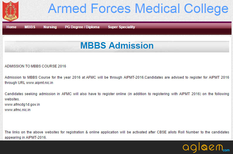 AFMC MBBS Admission 2016 Application Form