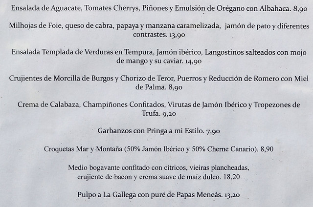 Spanish menu, Tenerife