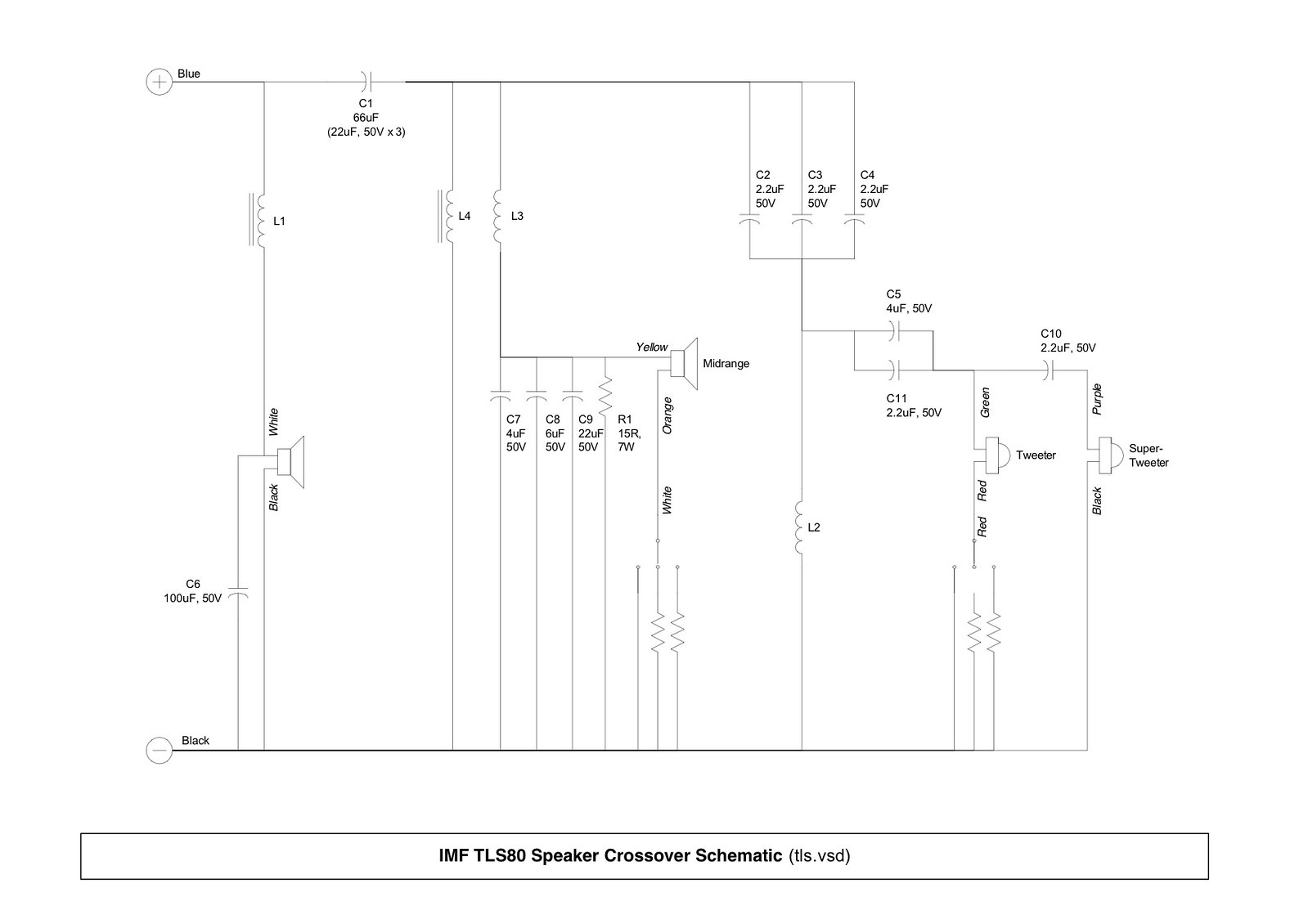 imf speaker technical details crossover schematics rebuild imf tls 80