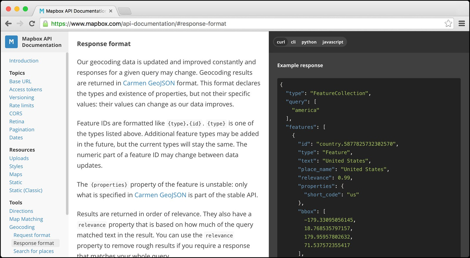 Meet the new Mapbox API documentation