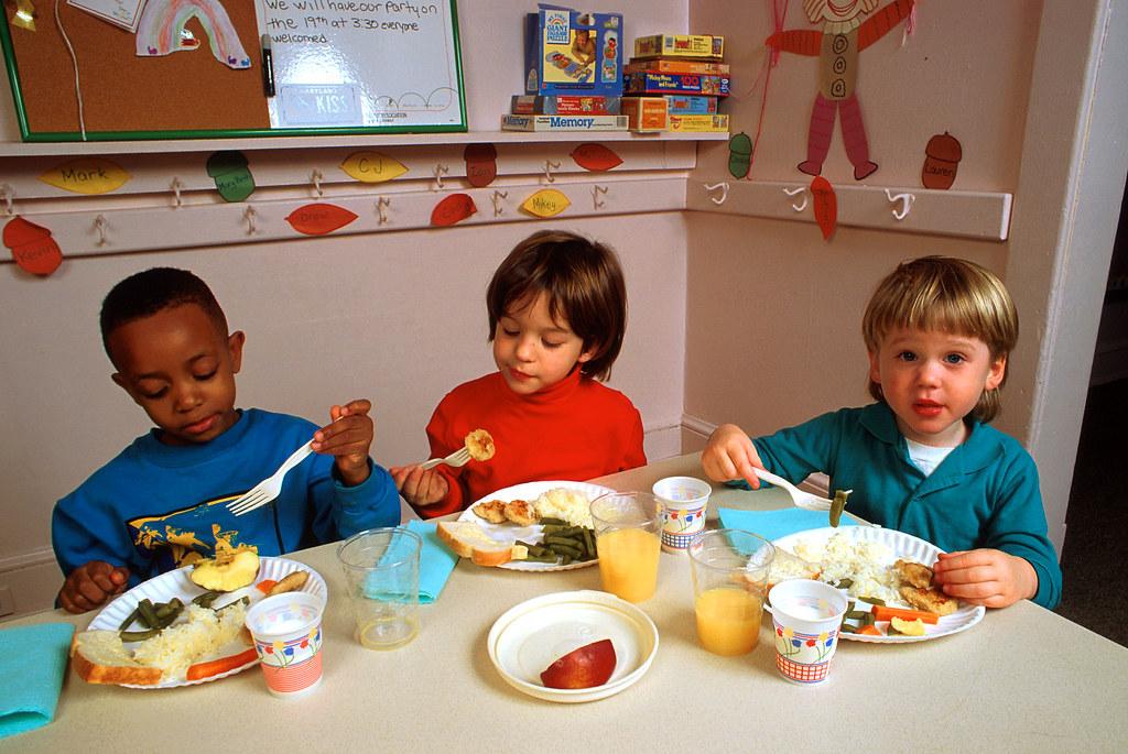 Multicultural Kids Eating Healthy Food