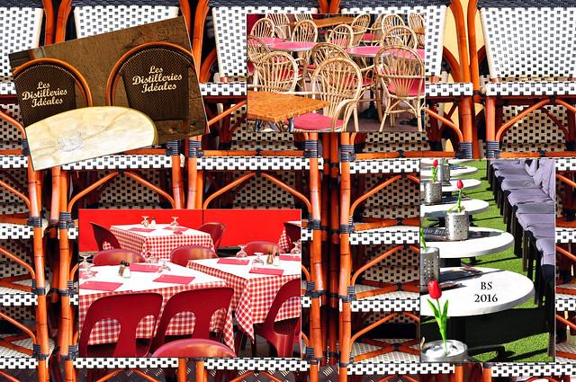 Nizza Nice Côte d'Azur März 2016 Fotospielereien und Verwirrungen mit Tischen und Stühlen Foto Collage Brigitte Stolle