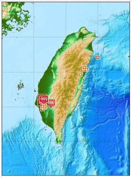 氣象局地震分布圖。中央氣象局網站截圖