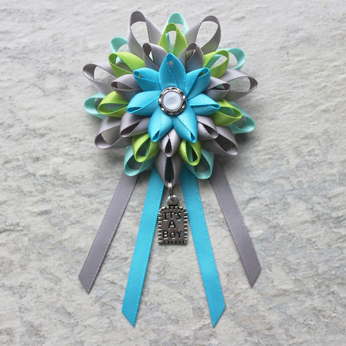 Boy Baby Shower Decorations Baby Shower Corsage Gray