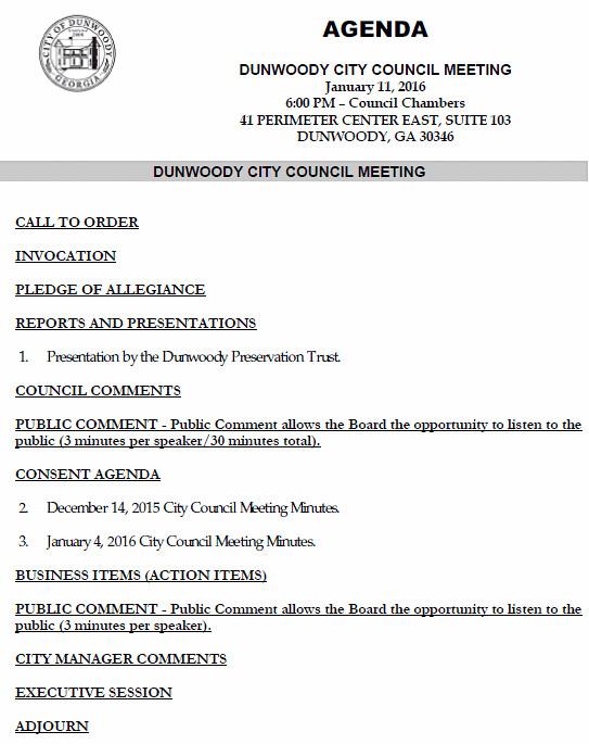 Consent Agenda City Council