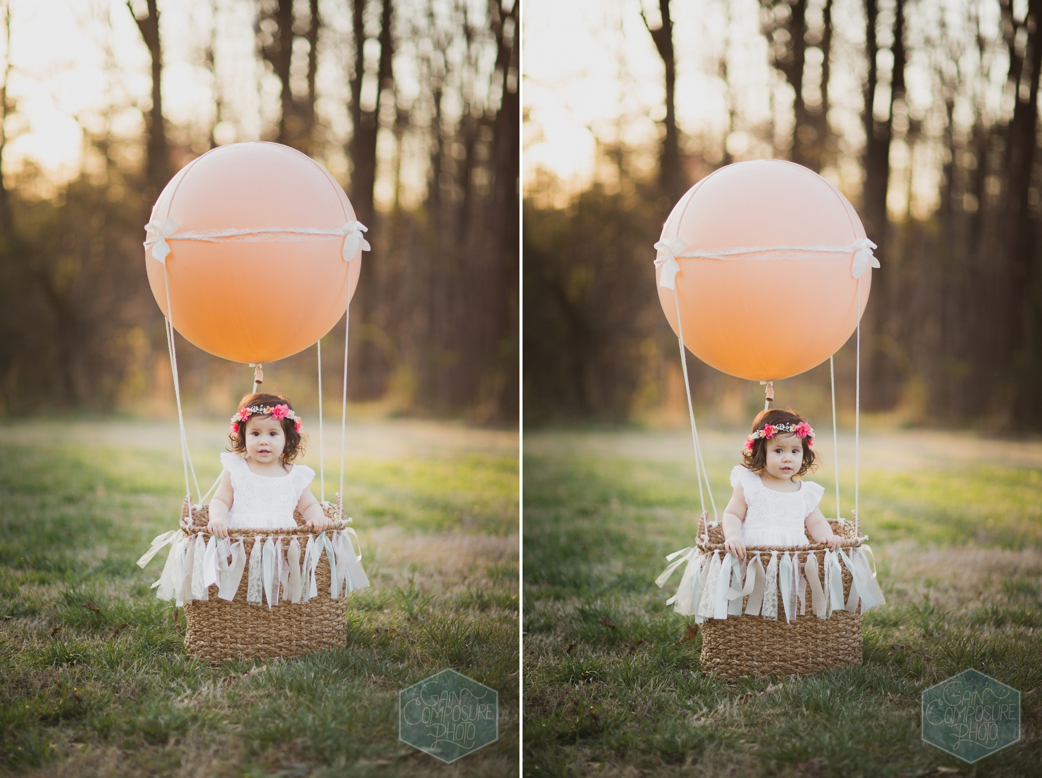 hot air balloon little girl session