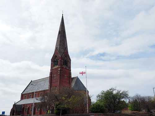Photo of St James flying flag of St George.