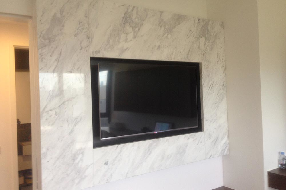 Volakas Marble Tv Feature Wall Volakas Marble Tv Feature