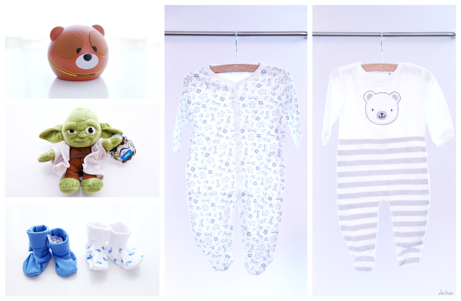 baby shopping pregnancy expecting newborn clothes onesies pajamas yoda star wars stuffed animal plush toy disney official teddy bear speakers zookeeper speaker bear bart smit zeeman 2016 socks cotton blue pale gender neutral boy haul