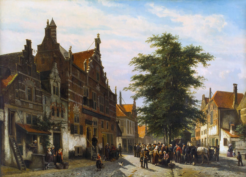 Cheese market with the Weigh house in Enkhuizen by Cornelis Springer, 1867