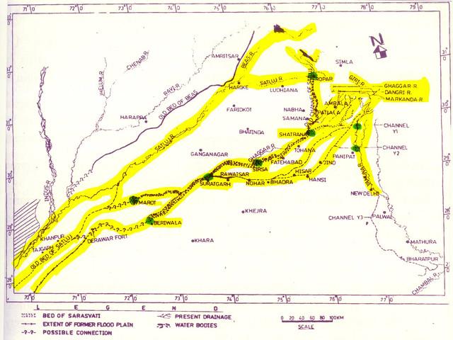 सरस्वती नदी मानचित्र