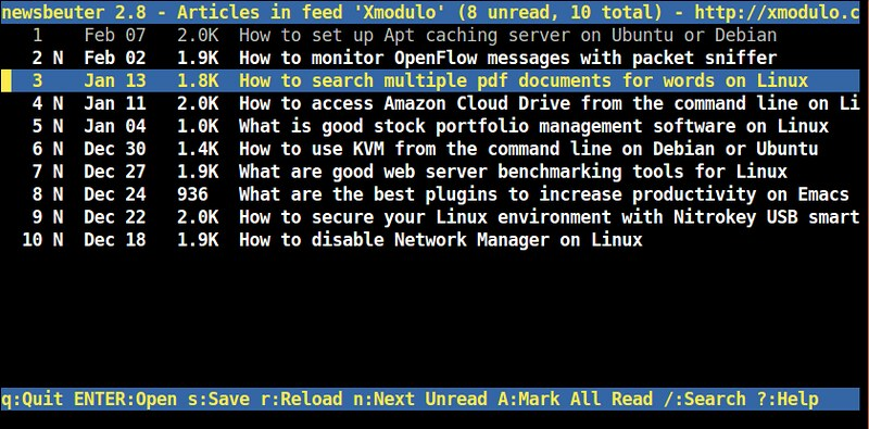 How to install Newsbeuter command-line RSS reader on Linux