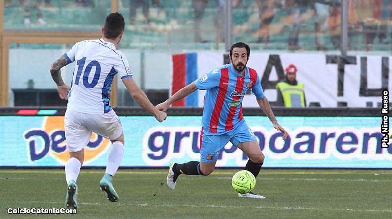 Dario Bergamelli in azione nell'ultimo Catania-Matera