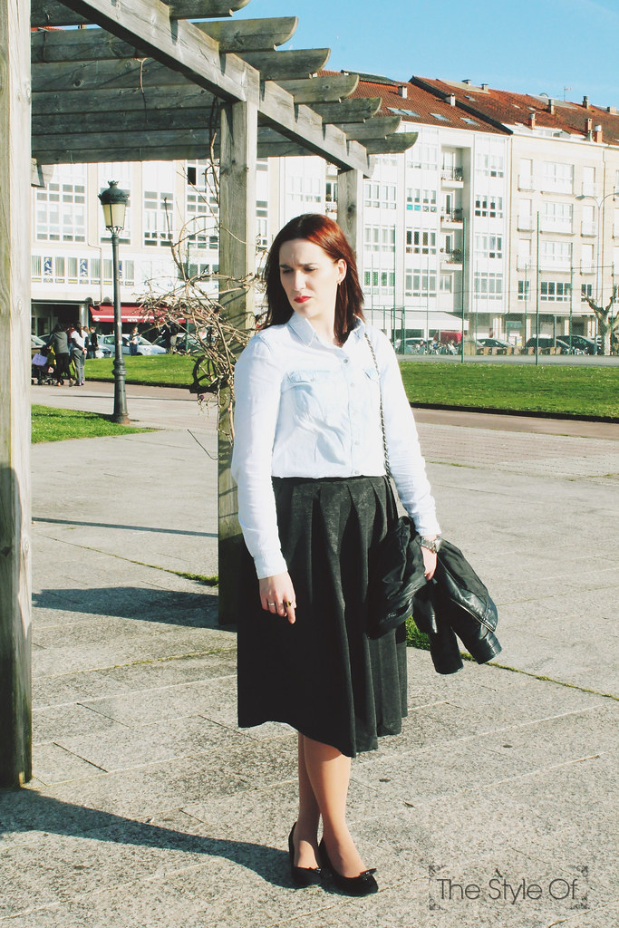 denim with midi skirt