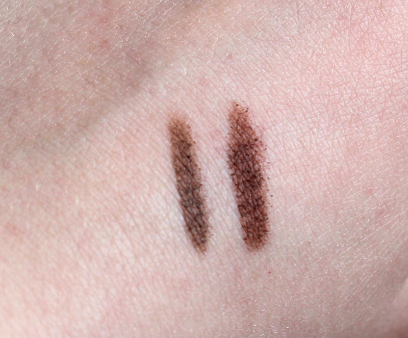 Soft Brown and Auburn Swatches of the Maybelline Brow Drama Pomade Crayons on Light Skin