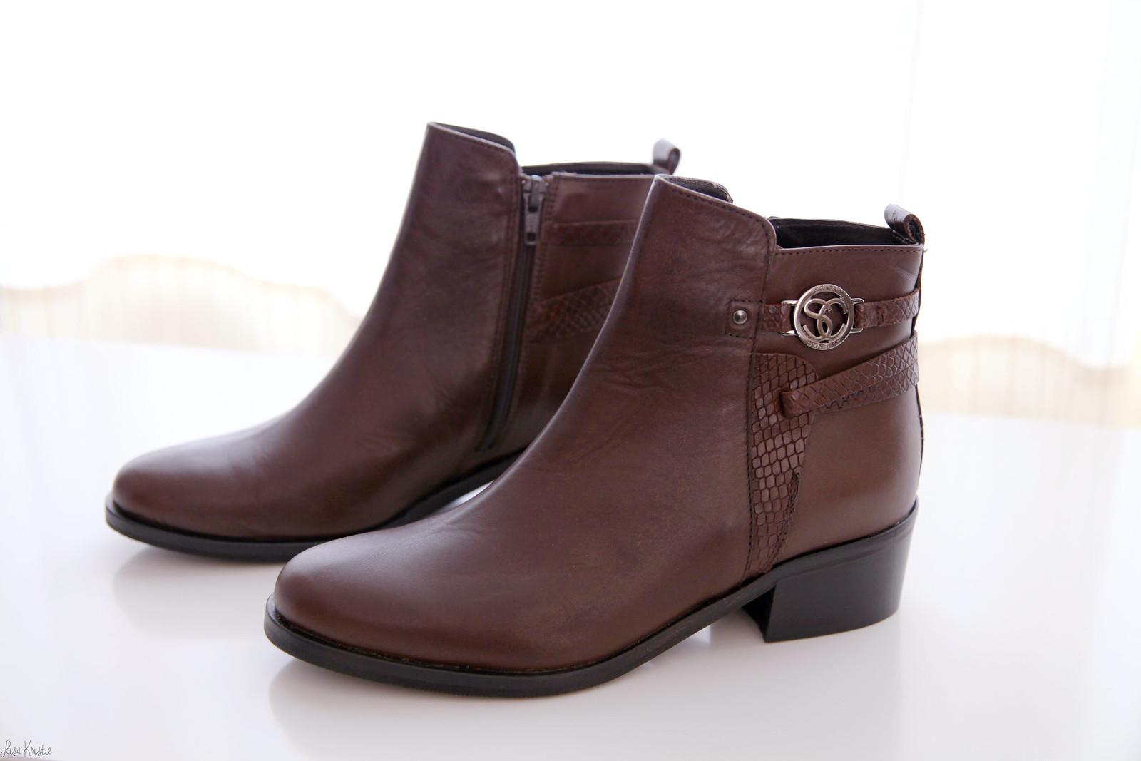 scapa shoes brown leather ankle booties flat small heel buckles 2015 collection 2016 sale