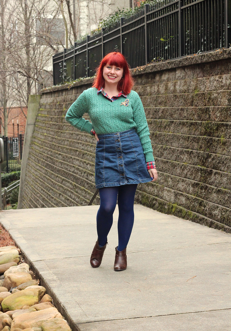 Colorful Flannel Shirt, Blue Green Sweater, A-line Button Through Denim Skirt, Dark Blue Tights