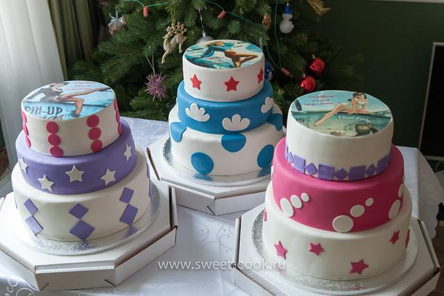 Трехэтажные торты на 23 февраля