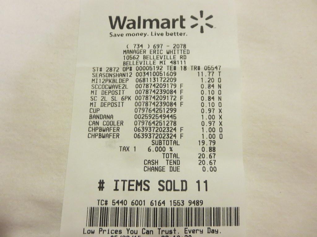 Walmart Receipt From Belleville Michigan Detroit