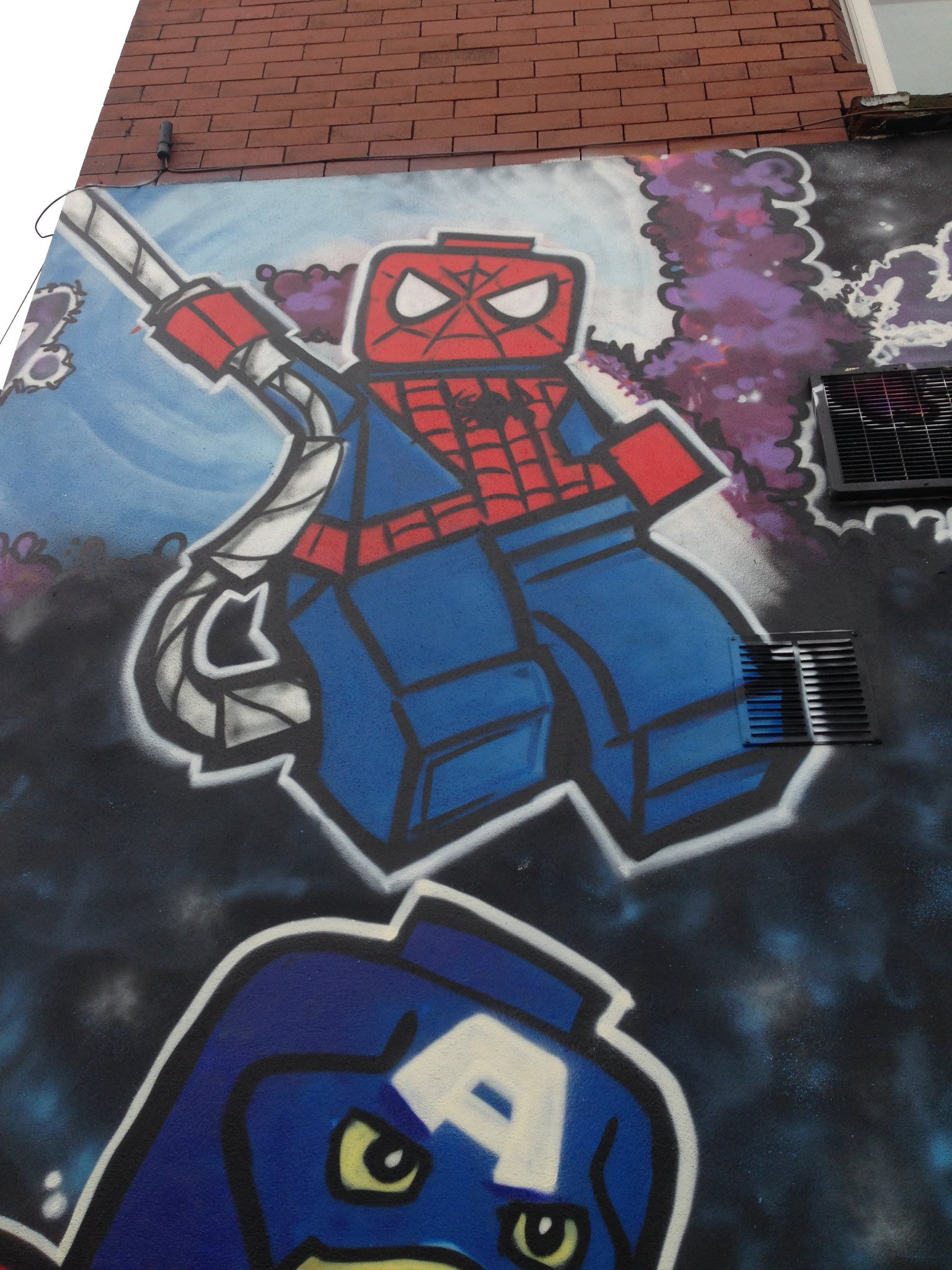 Marvel Lego Spider-Man street art, Blackpool, by Dominic Carlyle