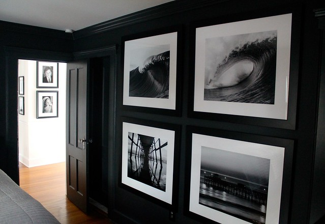 black and white photography on black walls