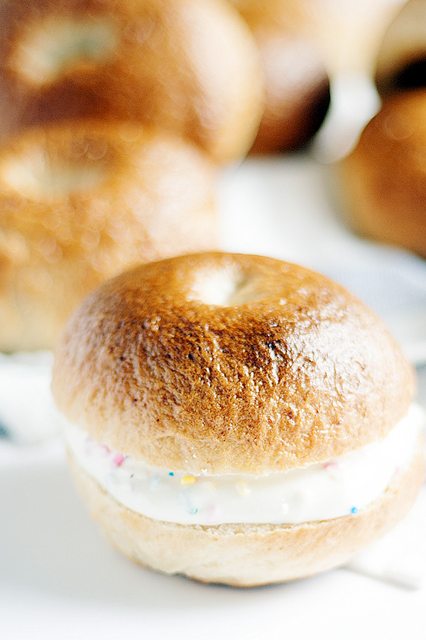 cake batter bagels with funfetti cream cheese