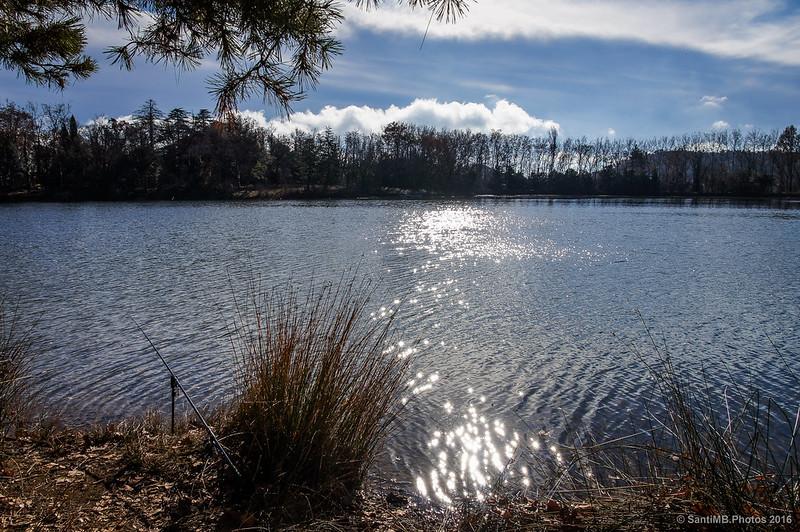 Alguien pesca en el lago
