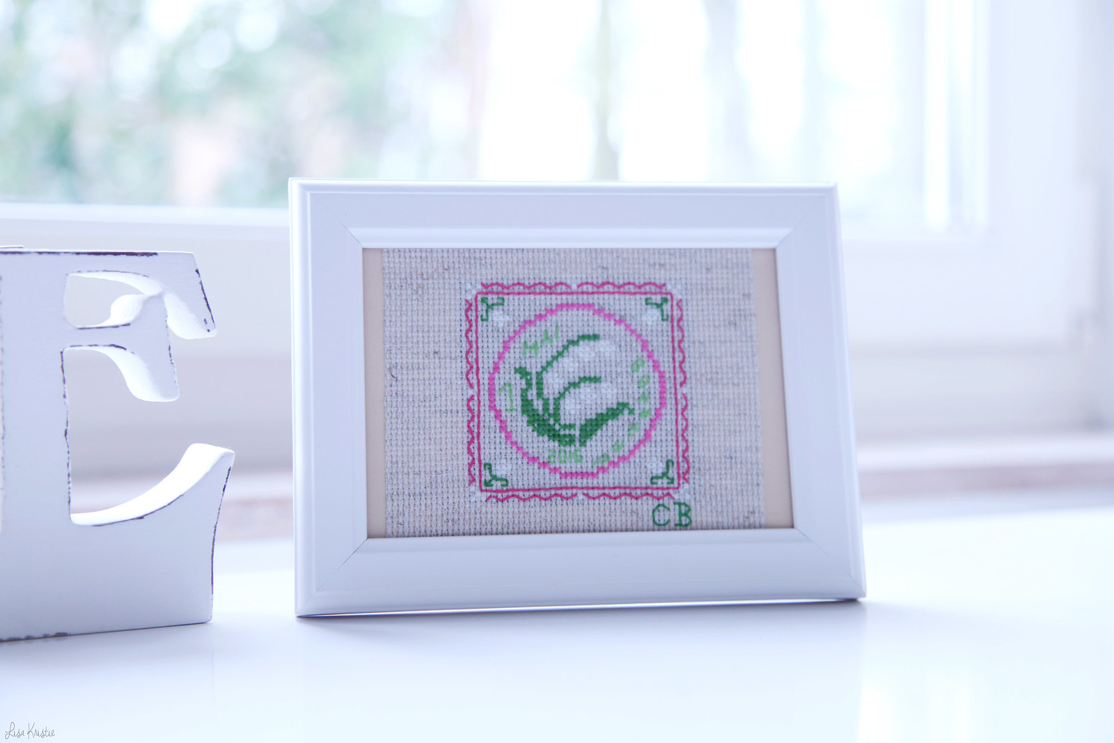 may 1sr lily of the valley cross stitching pattern framed